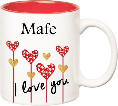 HuppmeGift I Love You Mafe Inner Red  (350 ml) Ceramic Mug