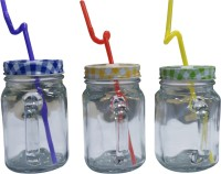 Toygully Multicolor Milk  With Straw Jar Glass Glass Mug (400 Ml, Pack Of 3)