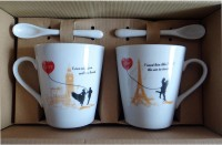Satyam Kraft Couple S - Love Mugs With Ceramic Spoon And Box Packing - Version 1 Ceramic Mug (340 Ml, Pack Of 2)