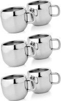 Dynamic Store Set Of 6 Double Wall Apple Cups Stainless Steel Mug (175 Ml, Pack Of 6)