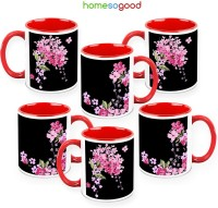 HomeSoGood Scattered Like Smile (Pack Of 6) Ceramic Mug (325 Ml, Pack Of 6)