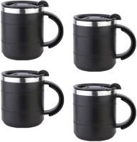Tuelip Stainless Steel Black  Stainless Steel Mug (300 Ml, Pack Of 4)