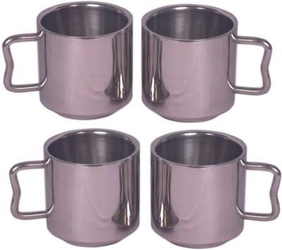 Dynamic Store Set Of 4 Tea  Stainless Steel Mug (200 Ml, Pack Of 4)