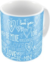 Indiangiftemporium Blue Designer Romantic Printed Coffee S Pair 709 Ceramic Mug (300 Ml, Pack Of 2)