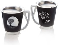 Arttdinox Kalpataru Ceramic, Stainless Steel Mug (100 Ml, Pack Of 2)