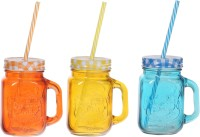 ZIDO Colorful Designer Mason Jar Glass Mug (450 Ml, Pack Of 3) - MUGEGH3V8UQQRJQZ