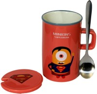 Satyam Kraft Minions Superhero  - Superman  With Metal Spoon And Lid Ceramic Mug (340 Ml)