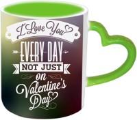 Jiya Creation1 Everyday Love Valentine Green Handle Ceramic Mug (3.5 Ml)