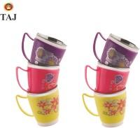 Taj S.S Euro Inner Fancy Milk/Tea/Coffee Small Cups Stainless Steel, Plastic Mug (120 Ml, Pack Of 6)