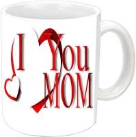 Jiyacreation1 With Cute Heart I Love You MOM White Ceramic Mug (3.5 Ml)