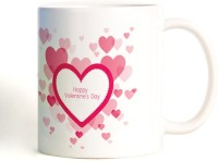 ShopMantra Vector Heart Pattern Mug (White, Pack Of 1)