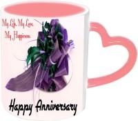Jiyacreation1 My Life My Love Happy Anniversary Pink Heart Handle Ceramic Mug (3.5 Ml)