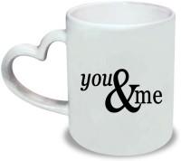 Huppme You-Me Heart Handle White  Ceramic Mug (350 Ml)