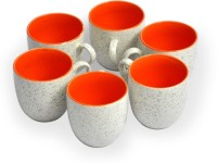 Puncham RS Marble Orange Ceramic Mug (150 G, Pack Of 6)
