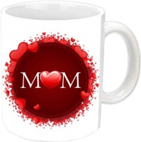 Jiyacreation1 MOM With Hearts White Ceramic Mug (3.5 Ml)