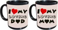 Tiedribbons I Love My Loving Mom And Dad Gift For Parents Set Of 2 Ceramic Mug (325 Ml, Pack Of 2)