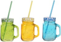 ZIDO Colorful Designer Mason Jar Glass Mug (450 Ml, Pack Of 3) - MUGEGH3R2M7KZMNE