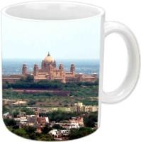 Jiyacreation1 Umaid Bhawan Nice View Multicolor White Ceramic Mug (3.5 Ml)