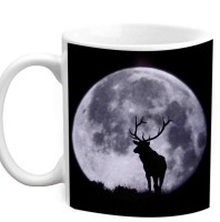 Jiyacreation1 Beautiful Moon Sheen Multicolor White Ceramic Mug (3.5 Ml)