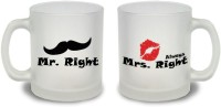 StyBuzz Mr. Right And Mrs. Always Right Couple Frosted Mug Glass Mug (300 Ml, Pack Of 2)
