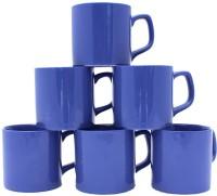 Aarzool Blue Pipe Shape Tea Cups Ceramic Mug (200 Ml, Pack Of 6)