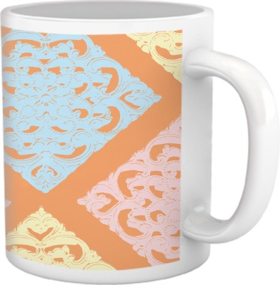 Tiedribbons Cups & Mugs Tiedribbons Shy Shine_Geometric Multicolor_ Border Pattern Ceramic Mug