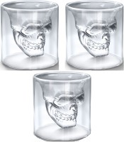 Sangaitap Combo Offer Of 3 Pes Of 73ml Crystal Skull Head Vodka Tequila Whiskey Shot Drinking Wine Glass Crystal Mug (73 Ml, Pack Of 3)