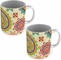 Little India Unique Floral Printed Off White Coffee S Pair 571 Ceramic Mug (300 Ml, Pack Of 2)