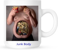 Huppme Junk Body Vs Fit Body  Ceramic Mug (350 Ml)