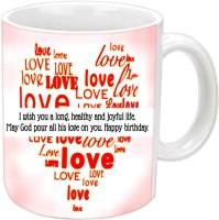 Jiyacreation1 Love Theme Happy B'day White Ceramic Mug (350 Ml)