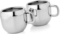 Verow Double Wall Apple Set Of 2 Stainless Steel Mug (150 Ml, Pack Of 2)