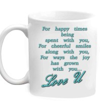 RajLaxmi Love U With Nice Caption White  Ceramic Mug (350 Ml)