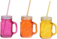 ZIDO Colorful Designer Mason Jar Glass Mug (450 Ml, Pack Of 3) - MUGEGH3R9HGFPPYD