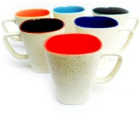 Aarzool Dup Tone Matte Finish Ceramic Mug (180 Ml, Pack Of 6)