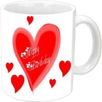 Jiyacreation1 Lovely Hearts Happy B'day White Ceramic Mug (350 Ml)