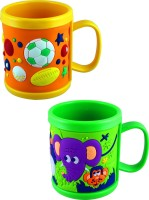 Radius Cartoon Embossed Mugs For Kids In Combo Pack Of Two Plastic Mug (300 Ml, Pack Of 2)