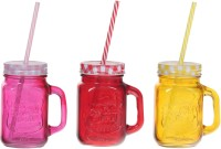 ZIDO Colorful Designer Mason Jar Glass Mug (450 Ml, Pack Of 3) - MUGEGH3SHQDQZQFE