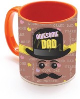 SKY TRENDS GIFT Awesome Dad With Black Stylish Cap And Stylish Mustaches Unique Gifts For Dad Happy Father's Day Inner Orange Color Ceramic Mug (320 Ml)