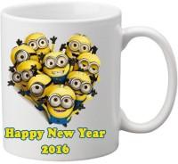 Awwsme Happy New Year Many Minion Ceramic Mug (350 Ml)