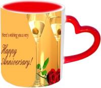 Jiyacreation1 Lovely Happy Anniversary Red Heart Handle Ceramic Mug (3.5 Ml)