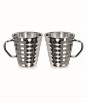 Garuda Ribbed Coffee Stainless Steel Mug (200 Ml, Pack Of 2)