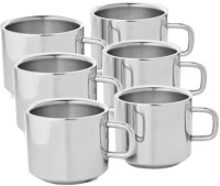 Aoito Stainless Steel Tea & Coffee Cup Set Stainless Steel Mug (150 Ml, Pack Of 6)