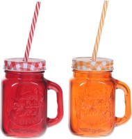 ZIDO Colorful Designer Mason Jar Glass Mug (450 Ml, Pack Of 2) - MUGEGH3QYZ8GHR5N