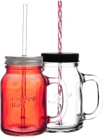 Cafecoffeeday Mighty Mason Sipper Glass Mug (590 Ml, Pack Of 2)