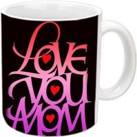 Jiya Creation1 LOVE You Mom In Hearts White Ceramic Mug (3.5 Ml)