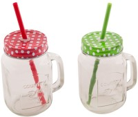 Satyam Kraft Mason Glass Jar - Pack Of 2 - Pattern Lid With Folded Straw And Handle - 2 Colors Set Glass Mug (503 Ml, Pack Of 2)