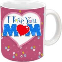 Jiyacreation1 I Love You MOM In Heart Shape White Ceramic Mug (3.5 Ml)