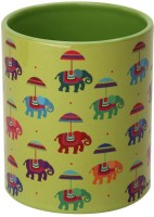 The Elephant Company  Green Flying Elephants Ceramic Mug (180 Ml)