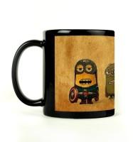 Shoprock Superhero Minions Mug (Black, Pack Of 1)