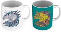 Little India Horse Design Printed Delightful Coffee S Pair 779 Ceramic Mug (300 Ml, Pack Of 2)